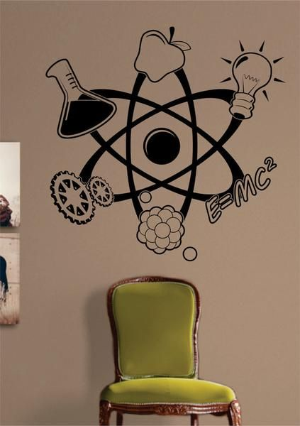 Science Atom Design Decal Sticker Wall Vinyl Art Home Room Decor Teacher School Educational Classroom Science Decor Vinyl Wall Art Vinyl Wall Art Decals