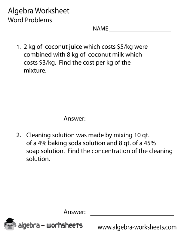 Algebra 1 Word Problems Worksheet #algebra-worksheets | Printable ...