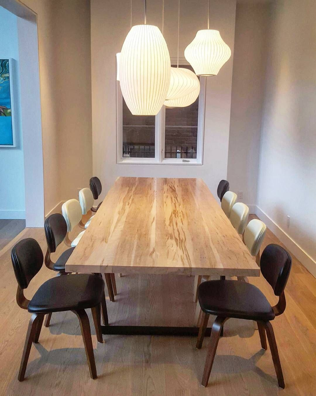 10 Ft Long Curly Ambrosia Maple Table On Industrial Steel Legs Adorable Maple Dining Room Table Design Ideas