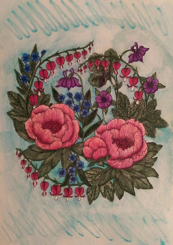Coloured By Matilda Furness.  From Maria Trolles Blomstermandala, with Albrecht…