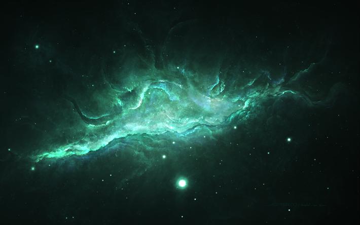 Télécharger fonds d'écran nébuleuse, 4k, galaxy, Sci-Fi gratuite, d'étoiles, de vert, d'une ...