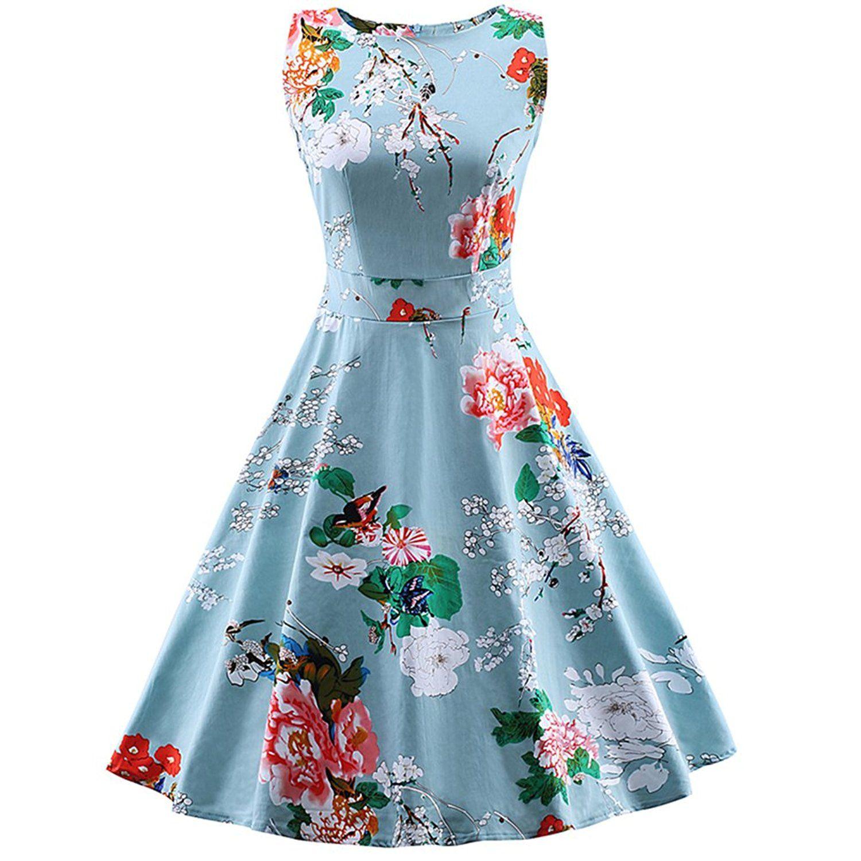 Ezcosplay Women Vintage 1950\'s Floral Hepburn Style Garden Party ...