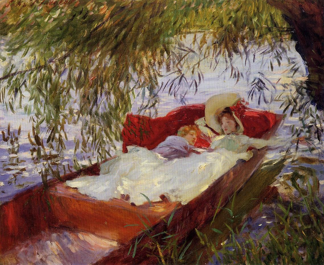 Two Women Asleep in a Punt under the Willows via John Singer Sargent Medium: oil, canvas