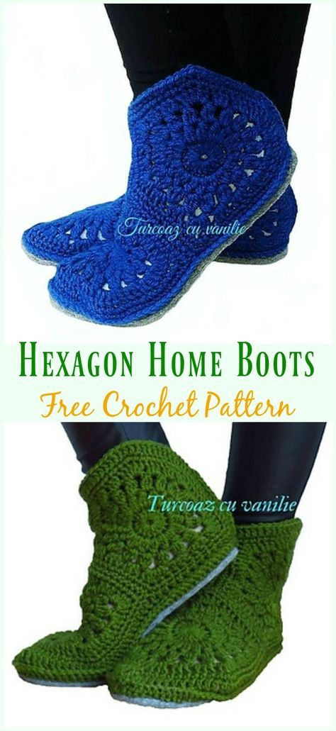 Hexagon Home Boots Free Crochet Pattern Crochet Women Slipper