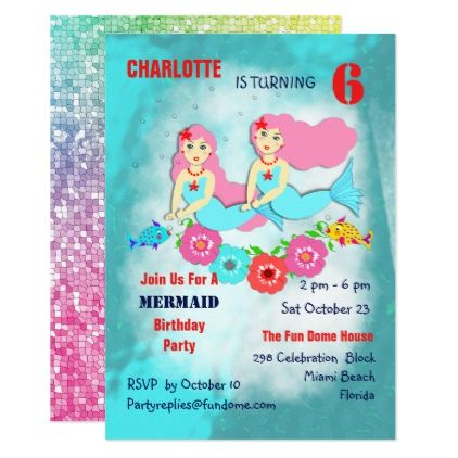 Swimming mermaids cute girly birthday party invite birthday swimming mermaids cute girly birthday party invite birthday invitations diy customize personalize card party gift filmwisefo