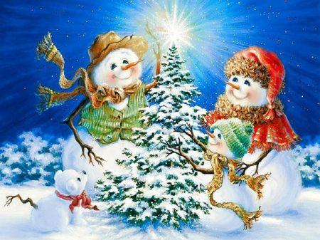 Frosty Snowman Family Desktop Nexus Wallpapers Christmas Art Christmas Snowman Christmas Scenes