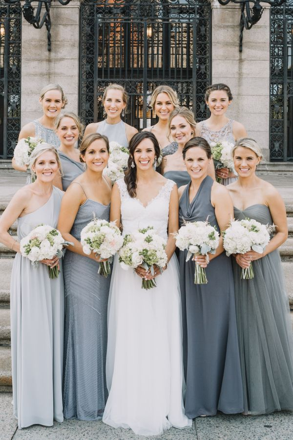 0986f26342f7 Mismatched Bridesmaids in Grey for a City Wedding Gallery - Style Me Pretty