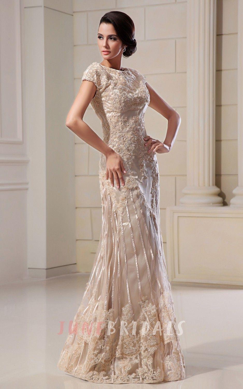 Romantic HighNeck Column Maxi Dress With Lace Appliques