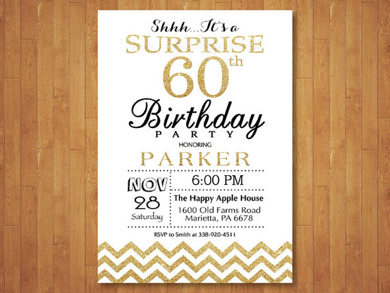 surprise 60th birthday invitation glitter by happyappleprinting