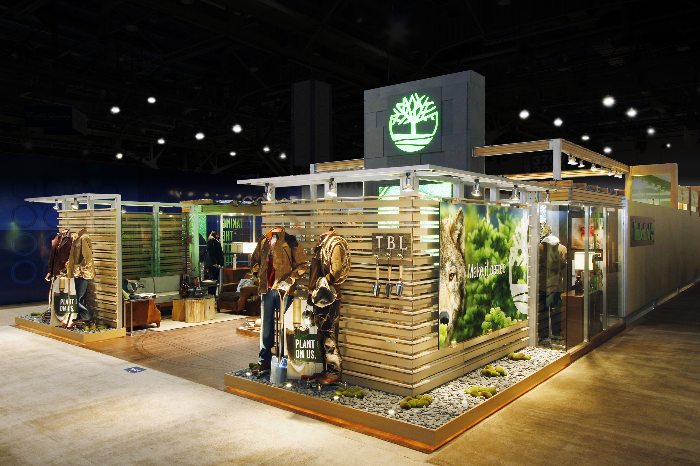 Featured exhibit of the day eco friendly trade show booth for timberland by gilbert displays for Conception stand de foire