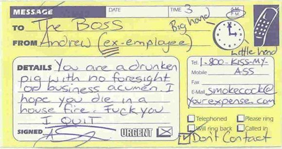 Job Resignation Note  J Jokes