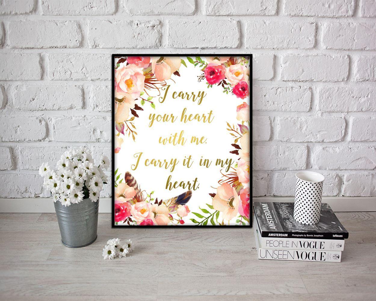 Wall decor floral printable heart prints floral sign heart printable