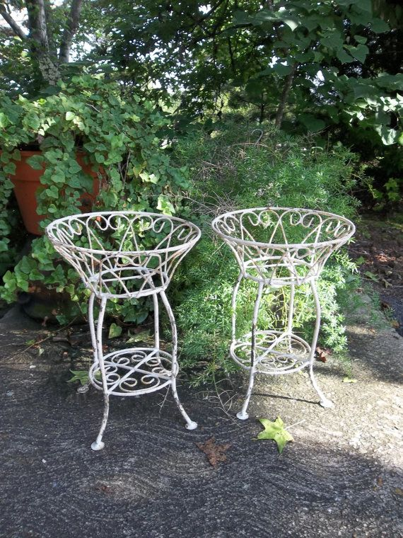 Vintage Garden Decor Wrought Iron Plant Stands