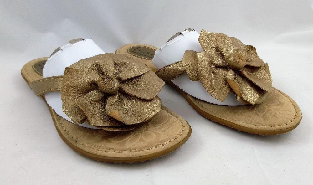 dbe91d6706cc2 B.O.C. Born Concept Size 9 Brass Gold Leather Flower Flip Flops Flats  Sandals  Born  FlipFlops