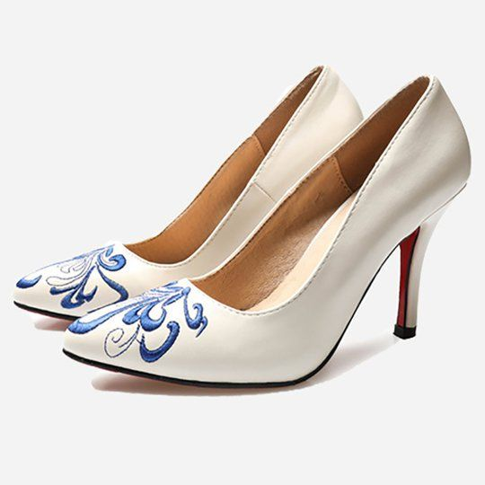 7723e0bc42a2 White Embroidery Elegant Date Women s Heels