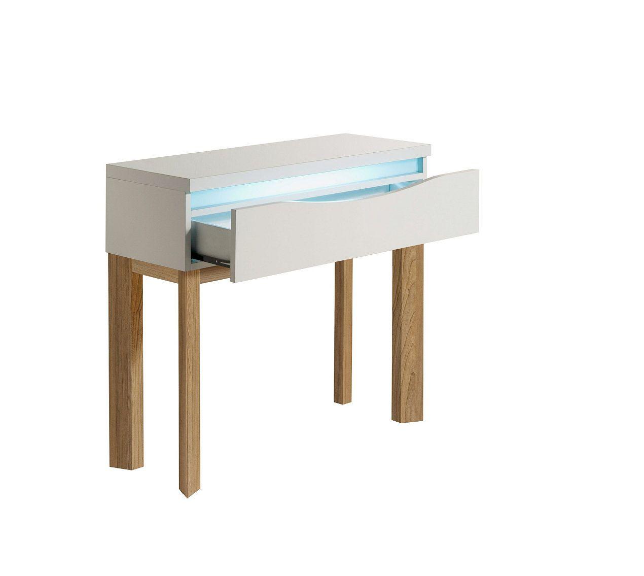 Console ALMERA Blanc/Chêne - Tables D\'appoint Et Consoles BUT ...