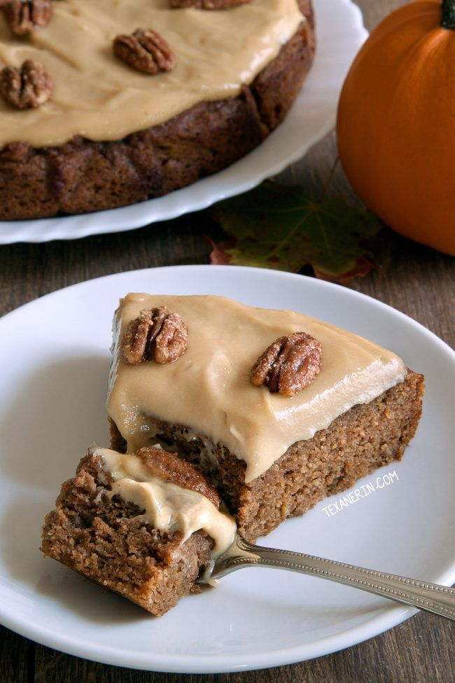 Paleo Pumpkin Cake with Maple Cream Frosting (Texanerin Baking) #creamfrosting