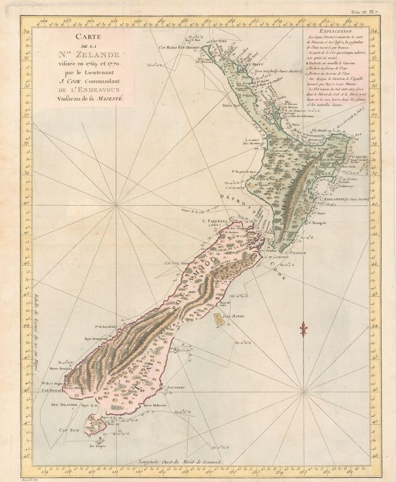 First Map Of Australia.James Cook First Voyage New Zealand 1769 70 Maps Latitude And
