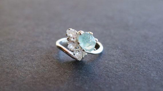 Aquamarine Ring Raw Aquamarine Ring Raw Crystal Ring Rings Etsy Aquamarine Engagement Ring Engagement Rings Affordable Engagement Rings