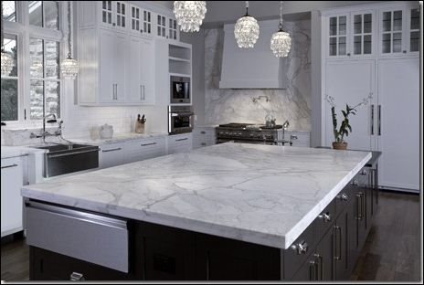 Great Kitchen, Charming Marble Countertop Beautify Splendid Kitchen Design That  Also Decorated With Luxurious Crystal Pendant Lamps And Equipped With Black  ...