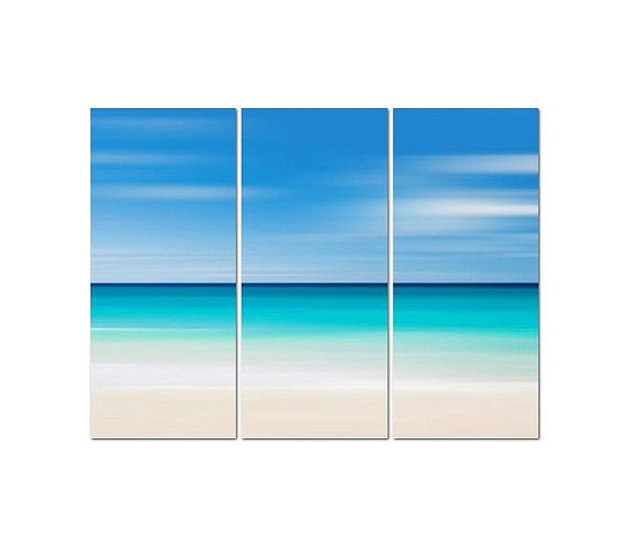 Beach Canvas Art, 3 Panel Triptych, Large Abstract Ocean ...