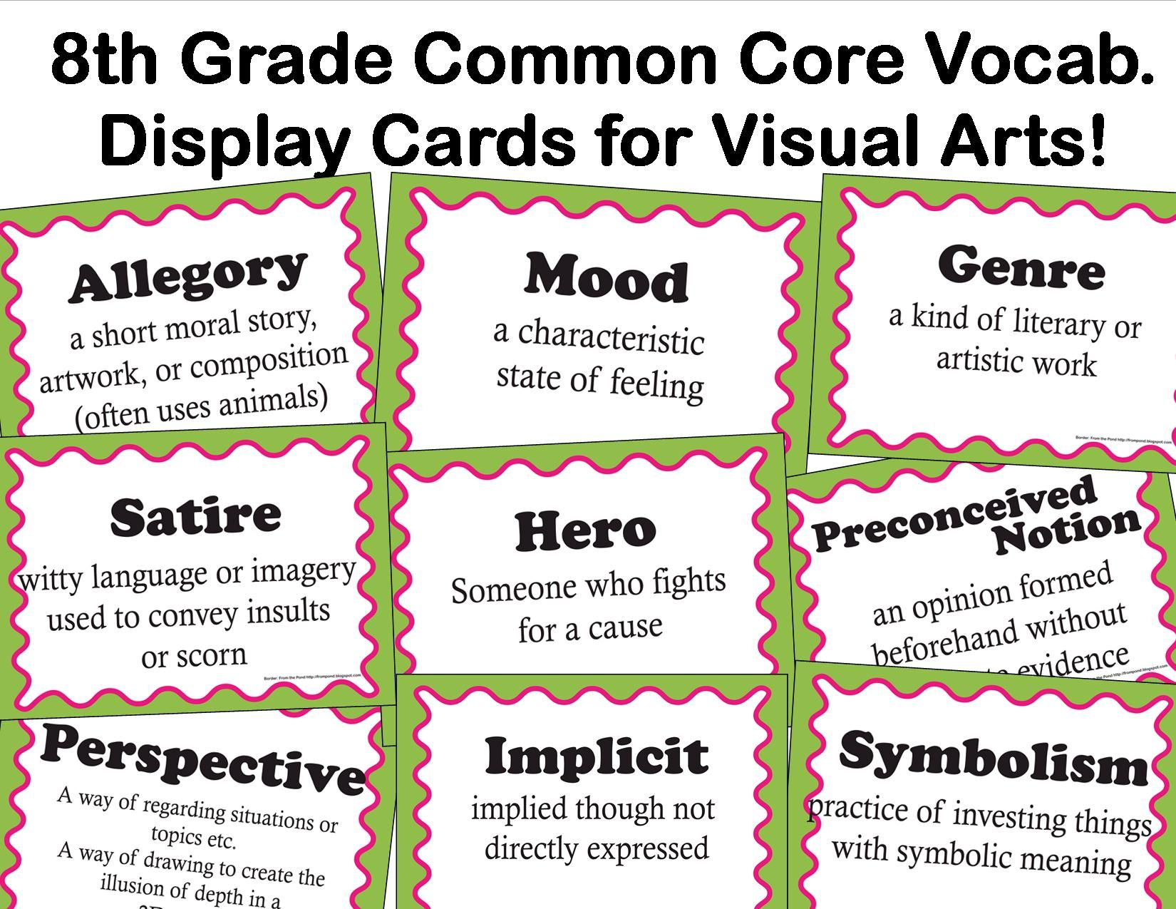 The Smartteacher Resource Common Core Language Arts Vocab For Visual Arts For 8th Grade