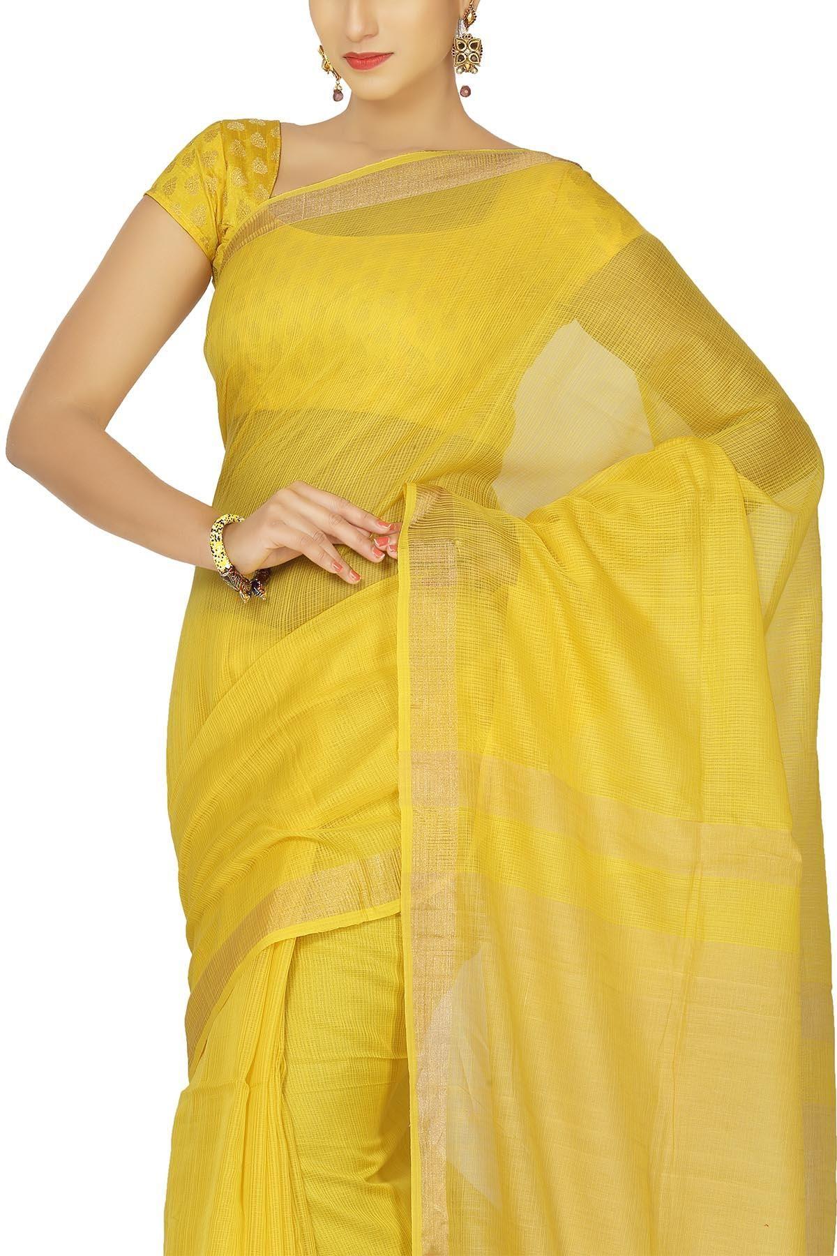 Tissue silk saree golden yellow u zari kota checkered hand woven cotton silk saree