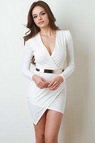 Surplice Belted Dress