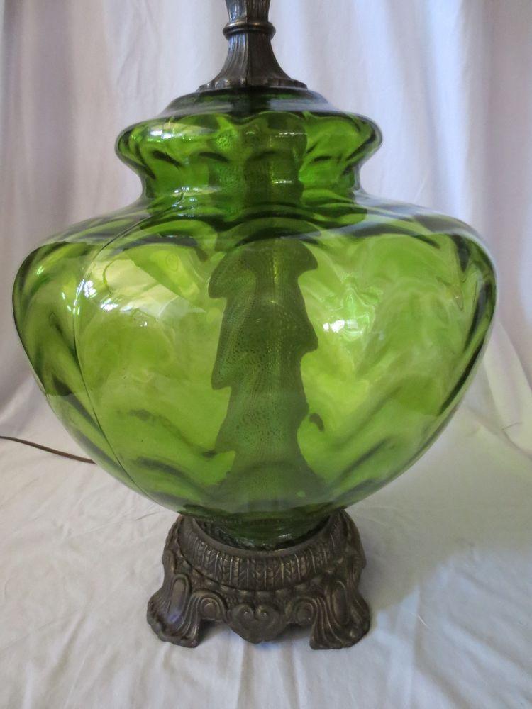 Vtg Mid Century Regency Optic Green Glass Table Lamp Light 3 Way 37 Tall Glass Table Lamp Vintage Table Lamp Table Lamp Lighting