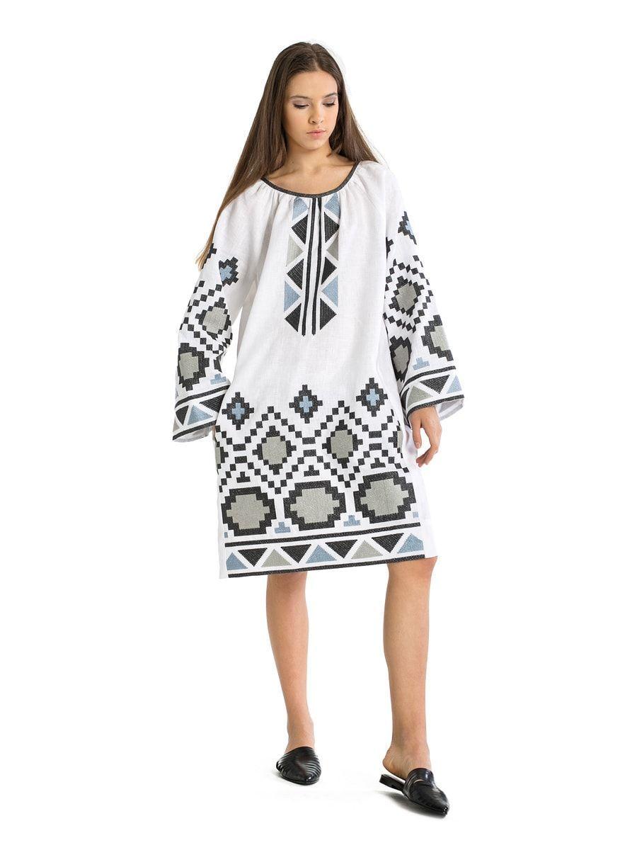 420747d5422a14 Біла лляна сукня з масивною геометричною вишивкою ETHNO6 | вибір ...