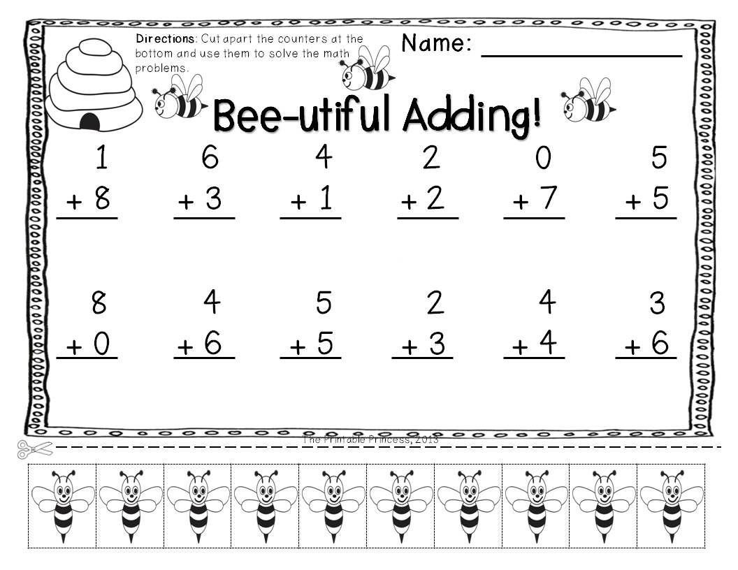 Addition Subtraction Practice Pages With Cut Apart Counters – Addition and Subtraction Worksheets Kindergarten