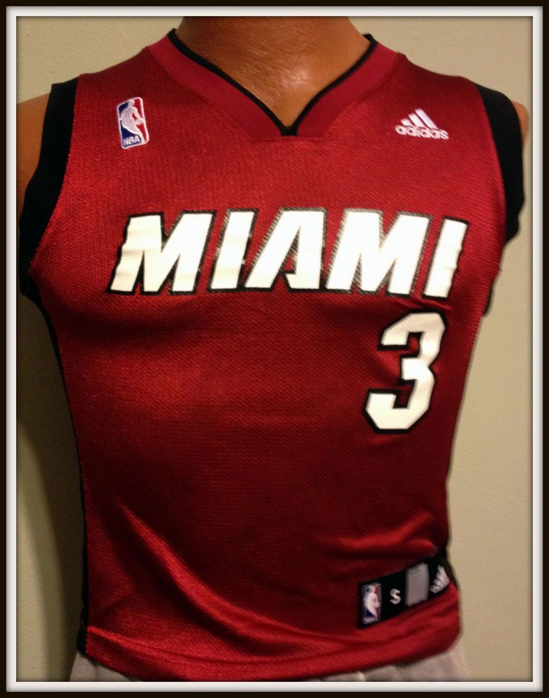 best website 562be c12ef MIAMI HEAT DWAYNE WADE ADIDAS ALTERNATE RED YOUTH SMALL ...
