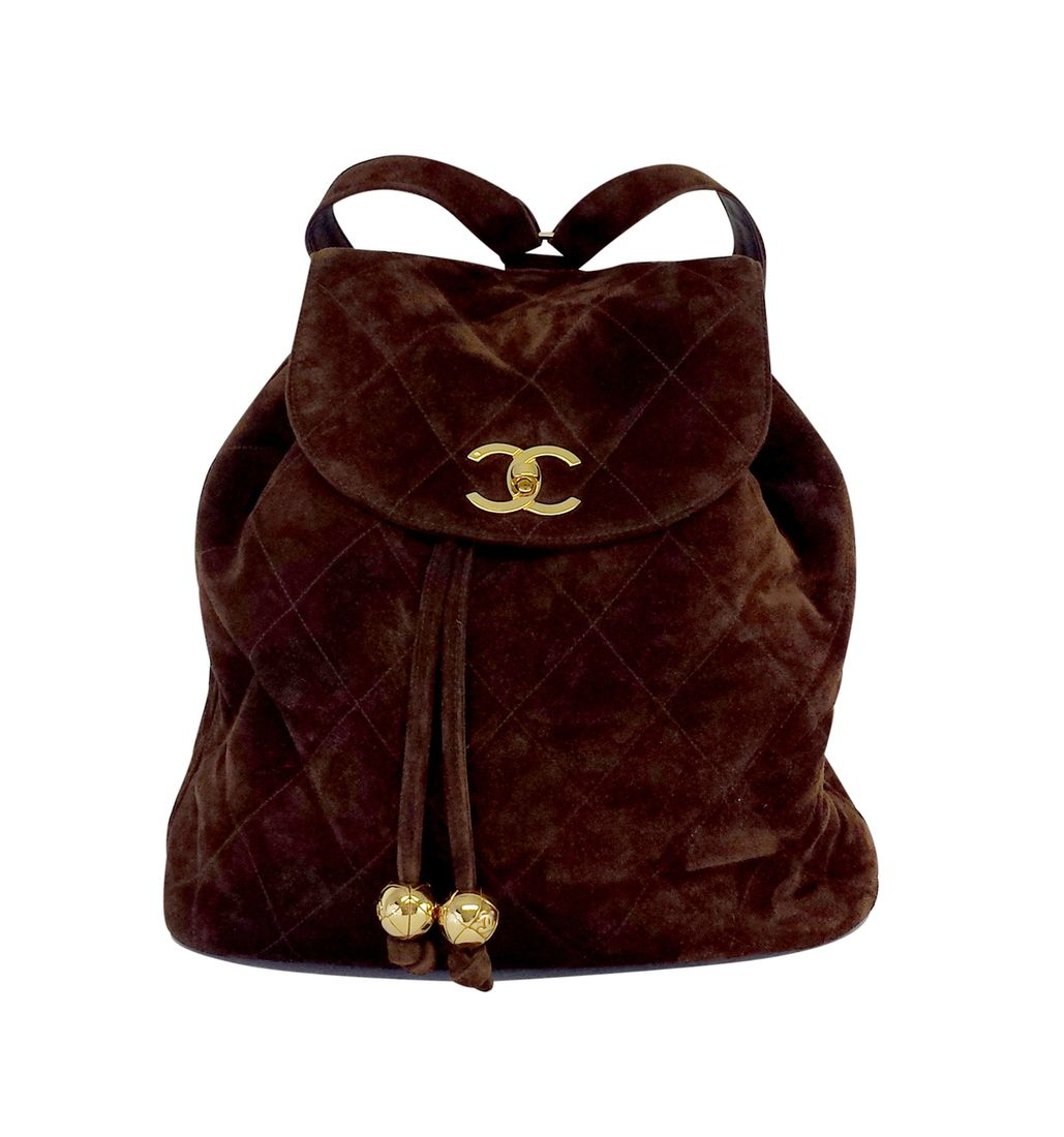 Chanel Vintage Brown Quilted Suede Backpack