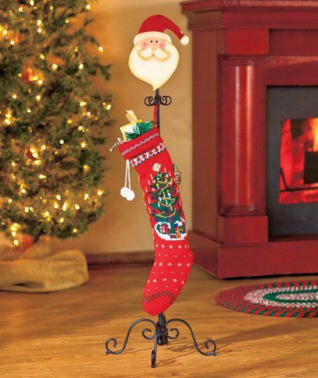 Free Standing Santa Christmas Stocking Holder Hanger Scrolled Metal Stand