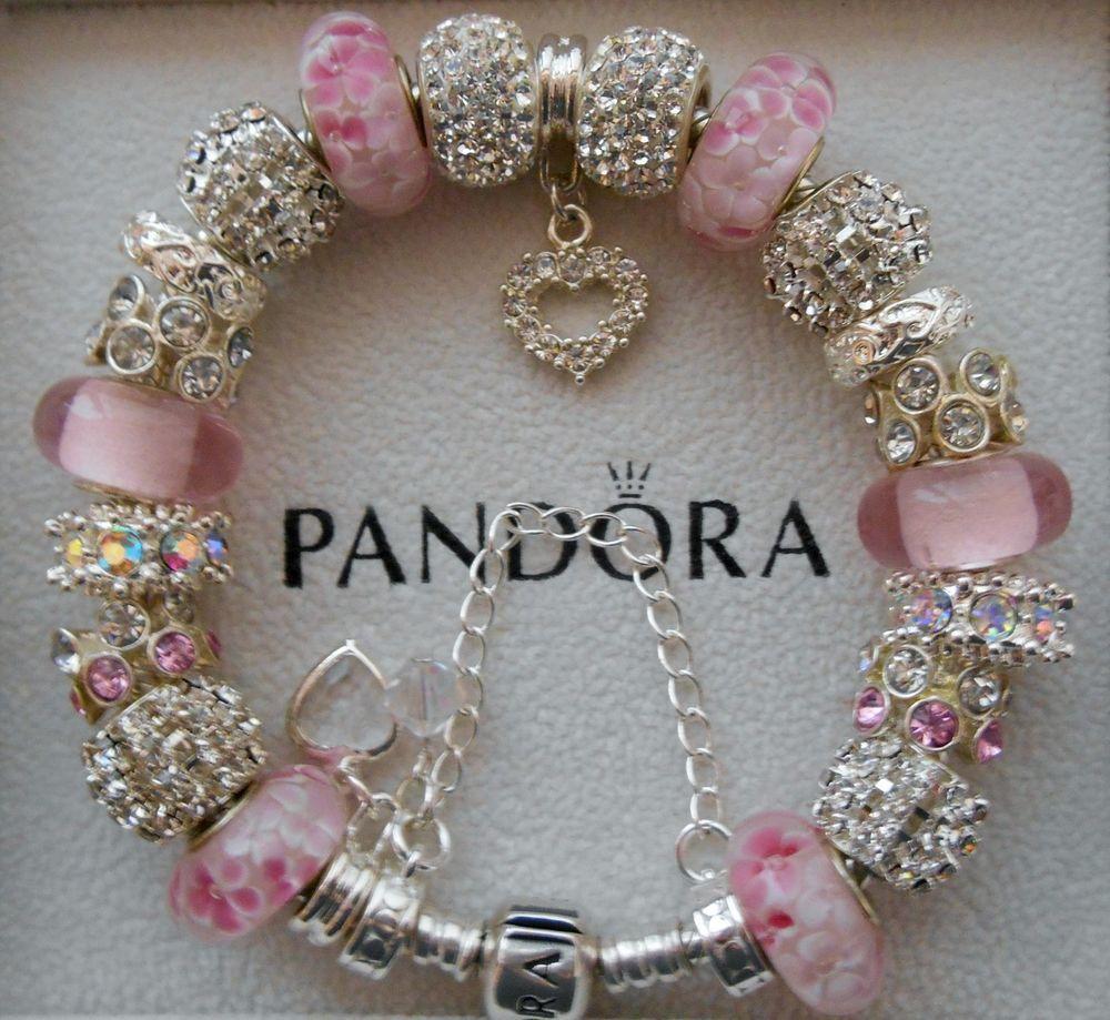 Authentic pandora bracelet swarovski crystals 925 sterling
