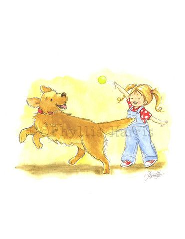 Playing Fetch - Golden retriever and little girl - Wall art for ...