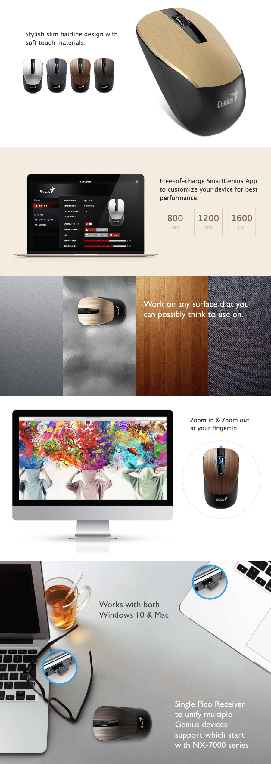 Genius BlueEye sensor wireless mouse NX-7015