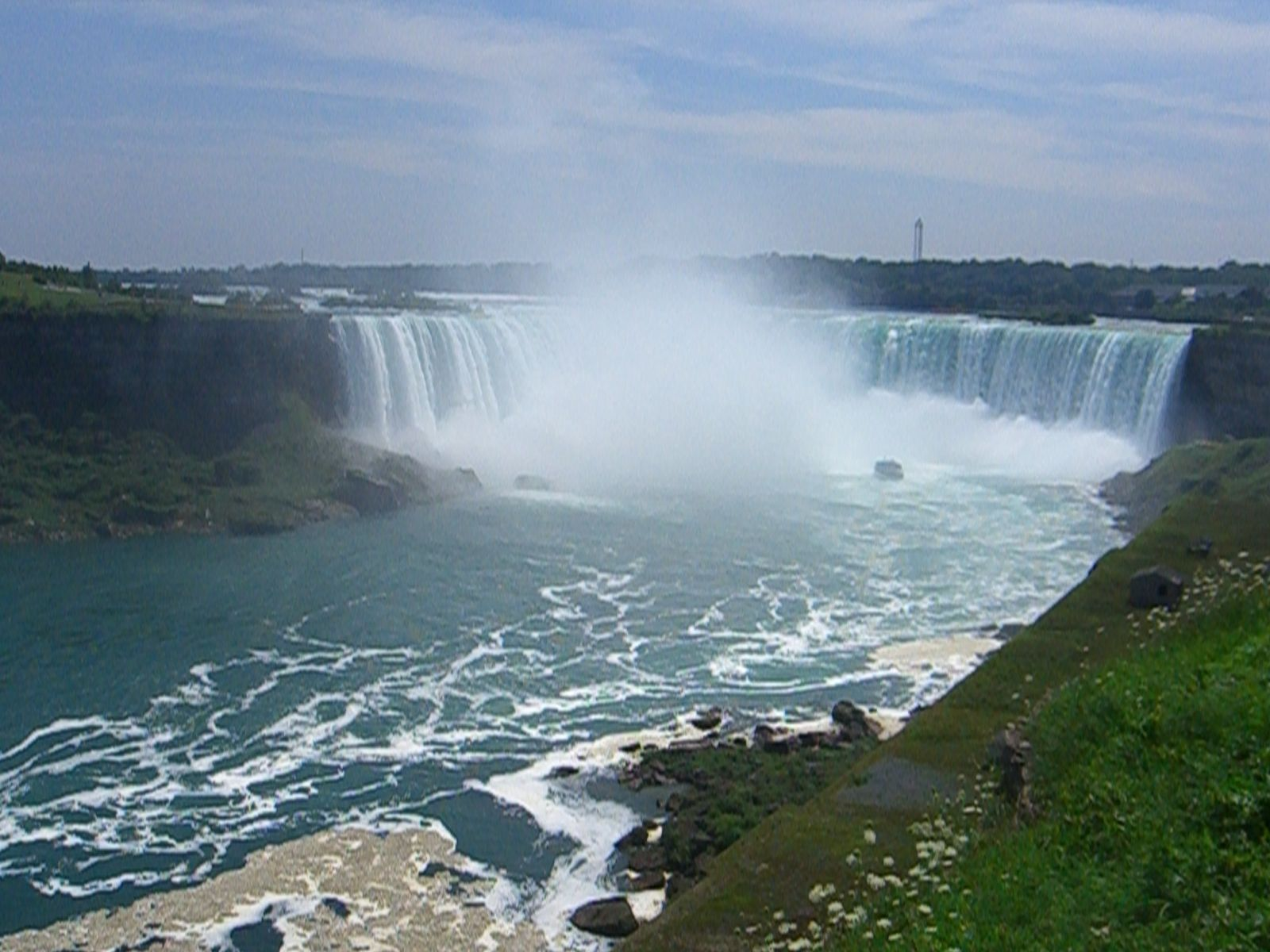 The Canadian Falls at Niagra - after getting soaked on the boat, we got smart and took photos from the banks!