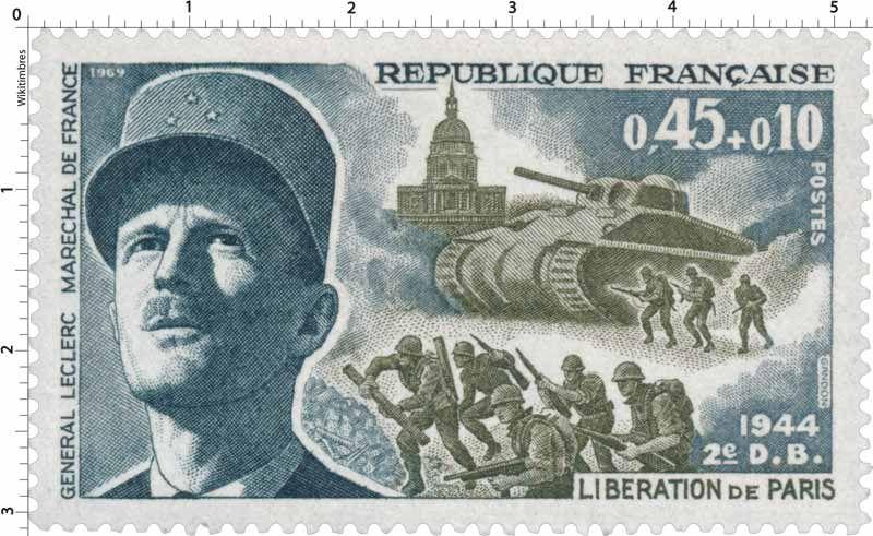 Timbre 1969 LIBÉRATION DE PARIS 1944 2e DB GENERAL LECLERC MARECHAL DE FRANCE   WikiTimbres