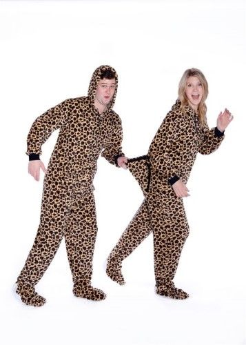ebbdc239ca47 Leopard Print Sleeper Hoodie Plush Footed Pajamas w  Drop Seat Adult ...