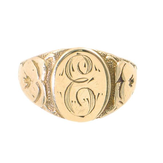 Victorian Signet Ring In 10k Gold With Initial E Hand Yellow Gold Jewelry Ladies Silver Rings Signet Ring