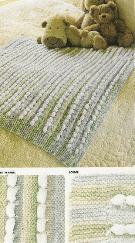 Bobble Pram Blanket Baby Modern Knitting Pattern Listing In The Baby