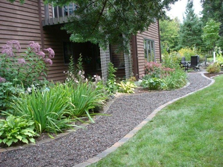 cesped flores plantas camino casa bonito ideas Jardn Pinterest