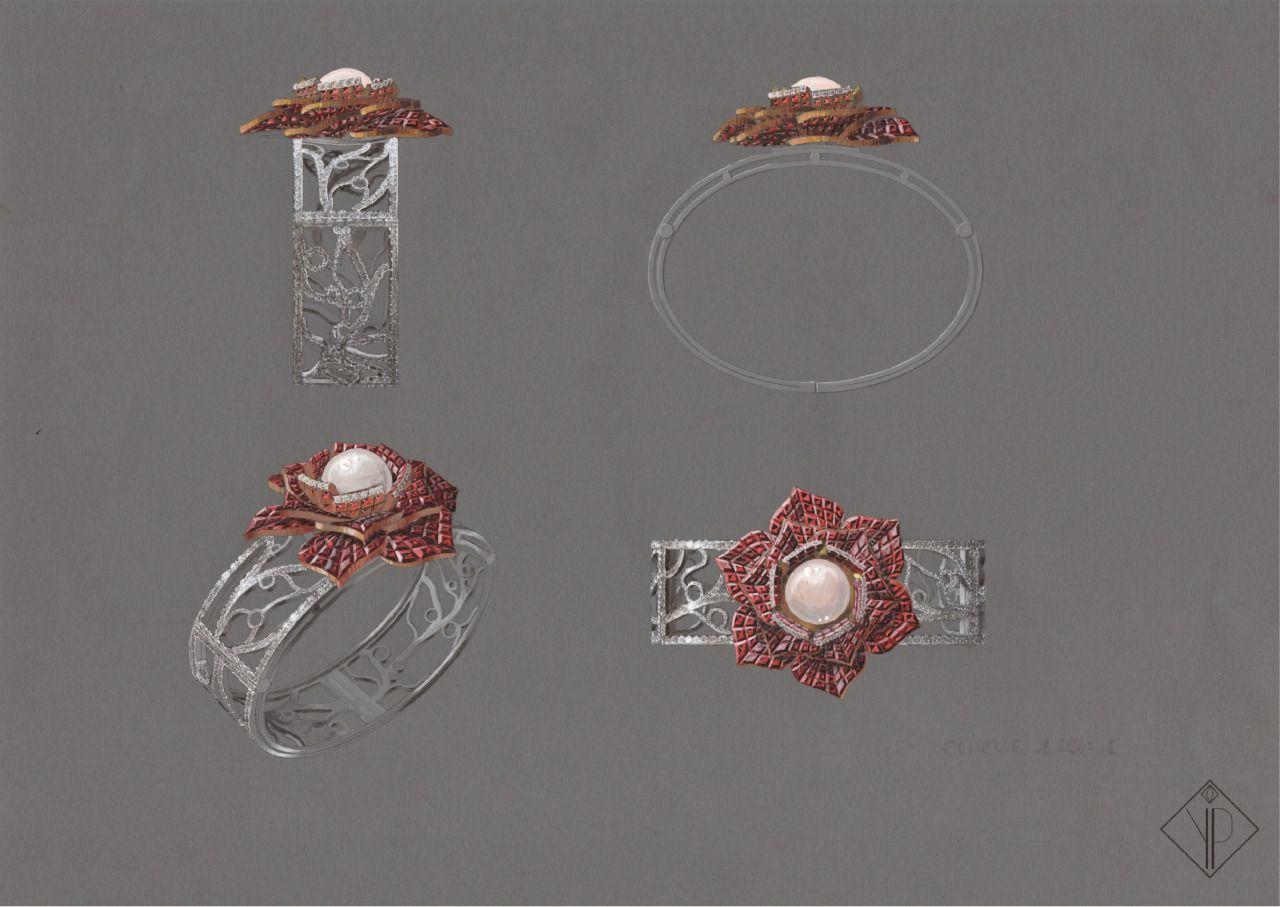 Bracelet rose éternelle or blanc or rose brillants diamants