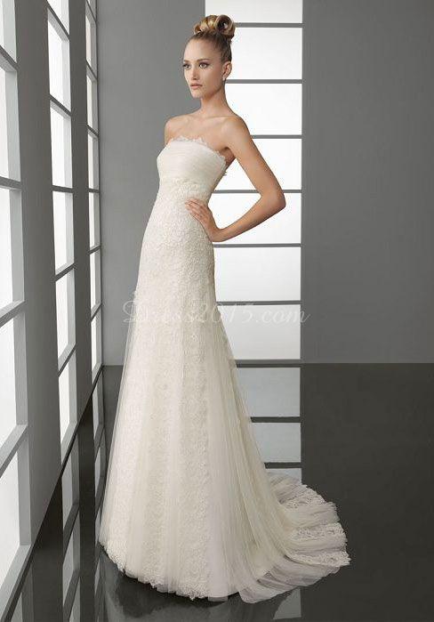 unique Tulle Column Embroidery zipper back Wedding Dress - Dress2015.com