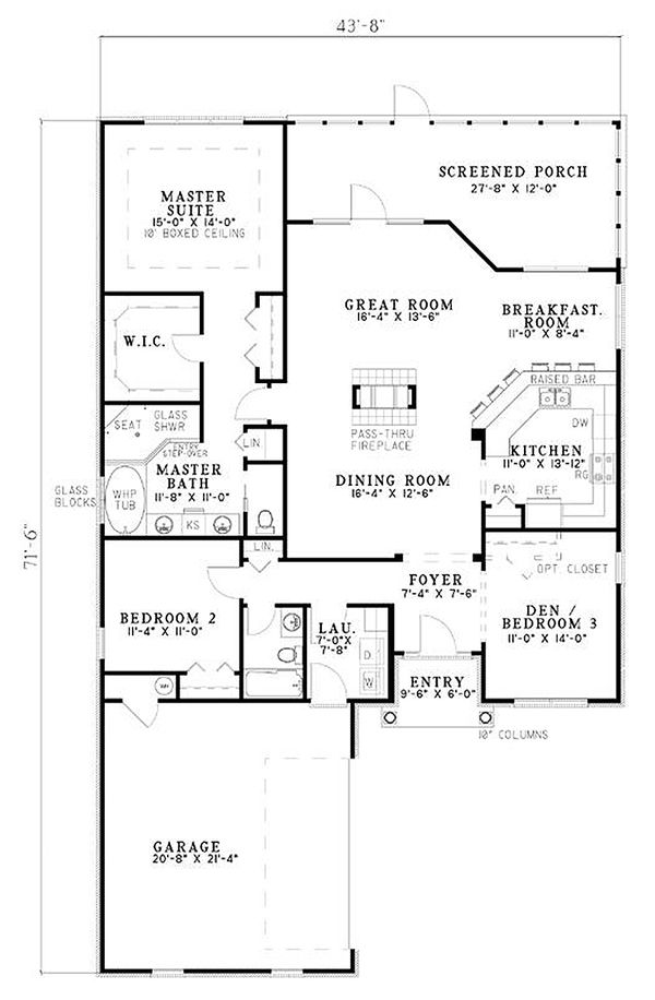 Traditional Style House Plan - 3 Beds 2 Baths 1806 Sq/Ft Plan #17