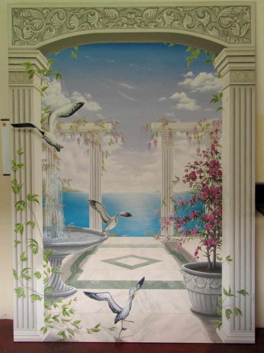 Decorazione per parete di interni trompe l 39 oeil dipinto a - Decorazione di interni ...
