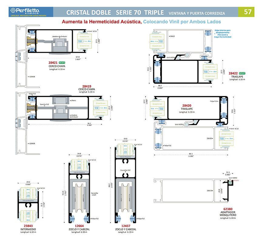 Cristal Doble Serie 70 Triple Perfiletto ®| Catálogo Virtual Perfiletto