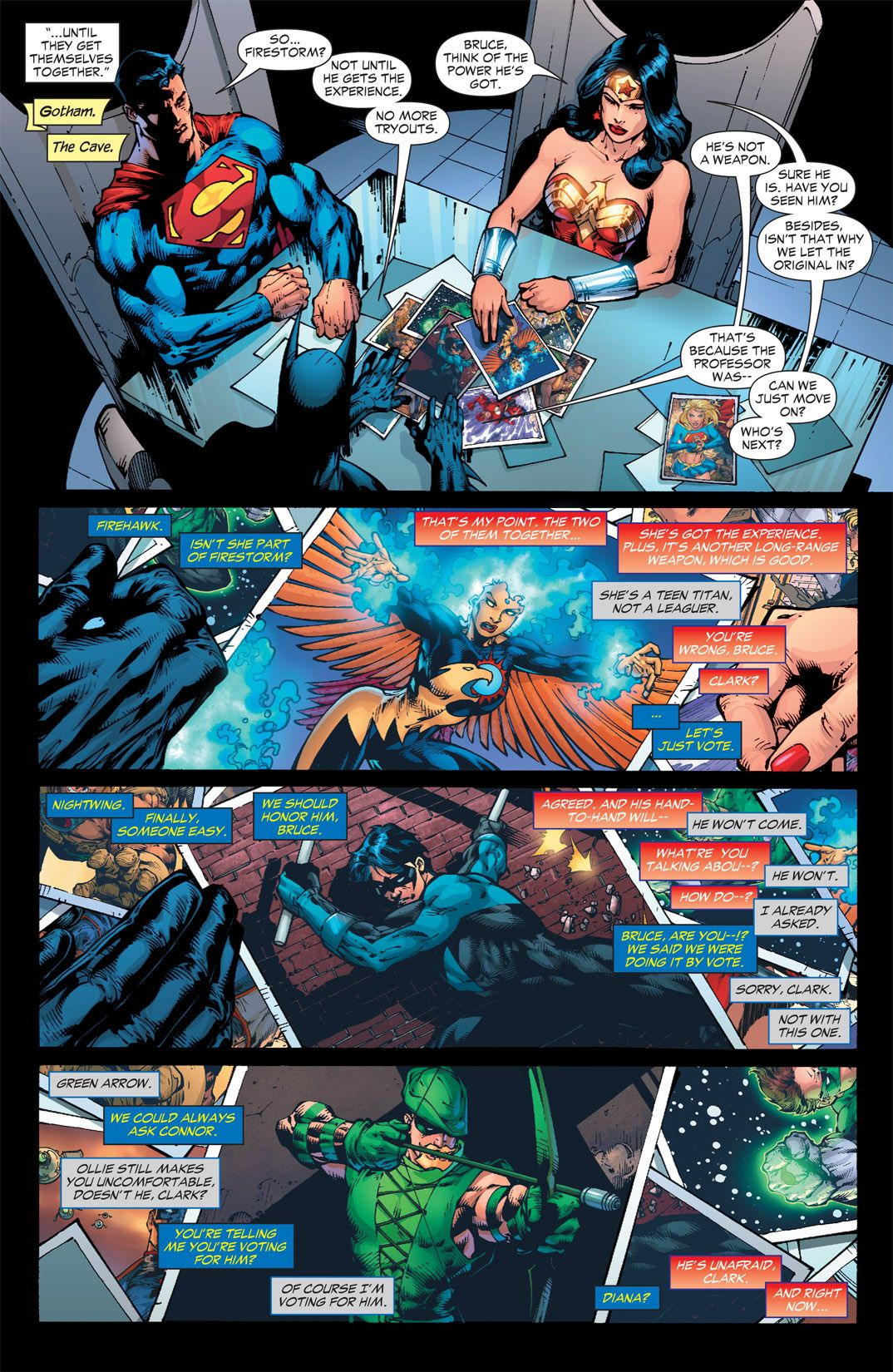 Batman Wonder Woman And Superman Picking New Members Of Justice League Dc Comic Costumes Dc Comics Superheroes Superhero Villains
