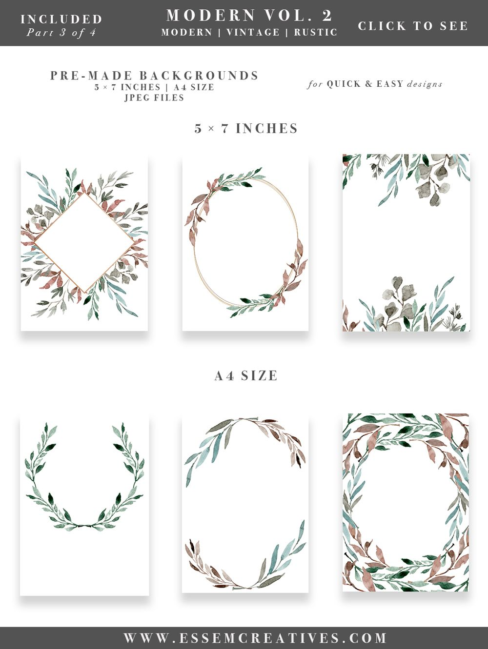 Watercolor Leaves Wreaths Clipart, DIY Watercolor Wedding ...